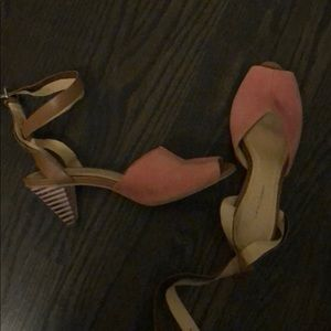 Anthropologie pink leather acrylic heels